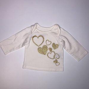 Long Sleeve Shirt With Gold Hearts